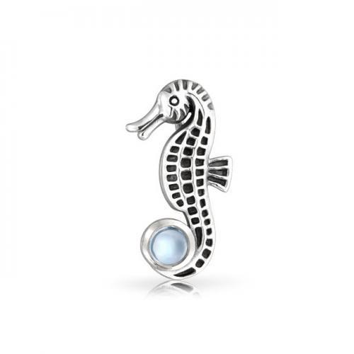 Bling Jewelry 925 Silver Nautical Antique Seahorse Blue Topaz Pendant Gemstone
