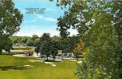 Peoria Illinois IL 1950s Bradley Park Playground Antique Vintage Postcard Peoria Illinois IL 1950s Bradley Park playground. Unused antique vintage postcard in excellent condition. 29369 TERMS & CONDIT