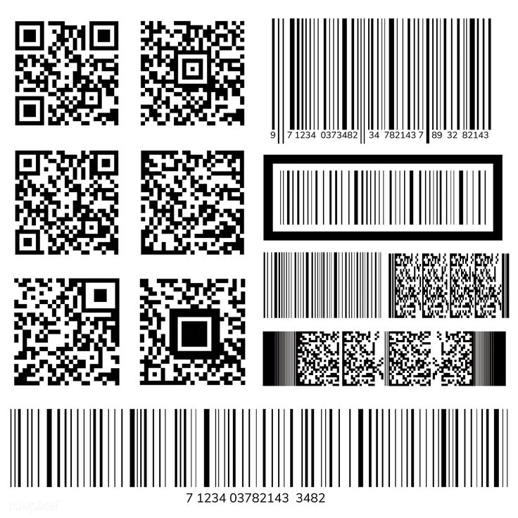 Barcode and QR code vectors free image by