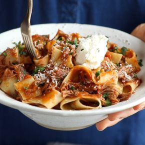 Slow Cooker Beef Ragu with Pappardelle - easy comfort food from the new Skinnytaste cookbook! #ragu #beef #pasta #slowcooker #dinner | pinchofyum.com