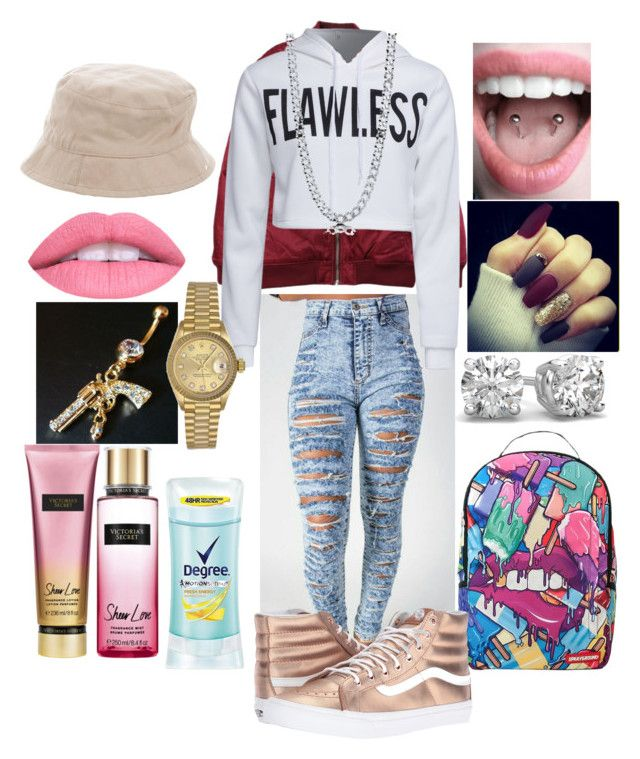 """dope swag 😄😄❤💜😺😺"" by princesskissbonilla ❤ liked on Polyvore featuring Victoria's Secret, Burberry, Degree, Stussy, Sprayground, Vans, WithChic, BERRICLE and Rolex"