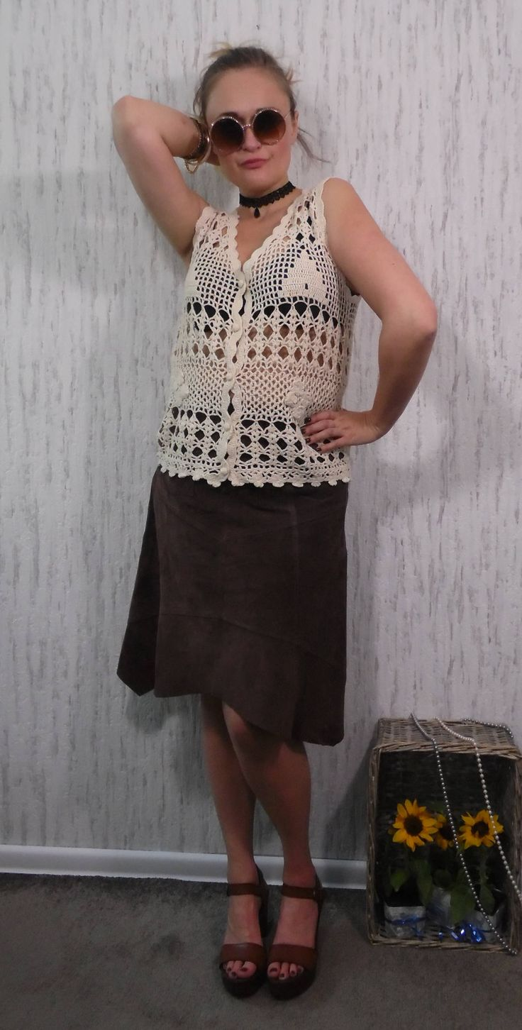 Vintage Hand Croched Vest by SweetSpicyVintage on Etsy