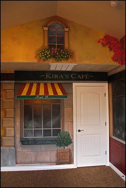 Kitchen Ideas With Cafe Murals Ideas French Cafe Theme Decorating Ideas