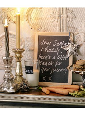 leave Santa a note on a little black board: Dear Santa, Xmas, Christmas Decorations, Decorating Ideas, Holidays, Chalkboard, Christmas Ideas