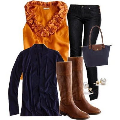 Fall: Fall Clothing, Colors Combos, Fall Colors, War Eagles, Burnt Orange, Fall Looks, Fall Outfits, Brown Boots, Orange Tops