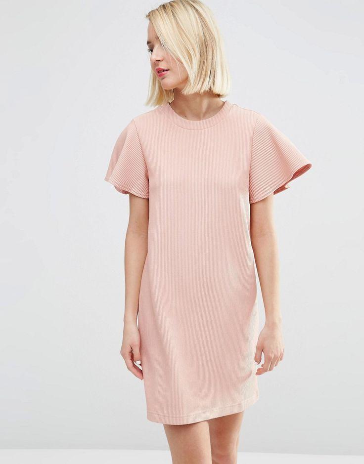Image 1 ofASOS Ruffle Sleeve Shift Dress