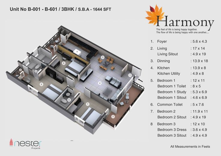 3D model of the 3bhk Plot of 1644SFT which a best gives space and comfort of living.