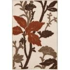 Blooming Flowers Ivory/Rust (Ivory/Red) 3 ft. 3 in. x 4 ft. 7 in. Area Rug