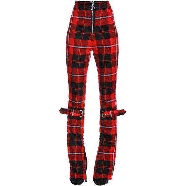 Dilara Findikoglu Women Manson's Plaid Wool Pants W/ Belts ($1,000) ❤ liked on Polyvore featuring pants, zip pants, wool pants, red tartan pants, high-waist trousers and high-waisted trousers