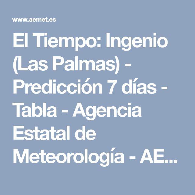 El Tiempo: Ingenio (Las Palmas) - Predicción 7 días - Tabla - Agencia Estatal de Meteorología - AEMET. Gobierno de España