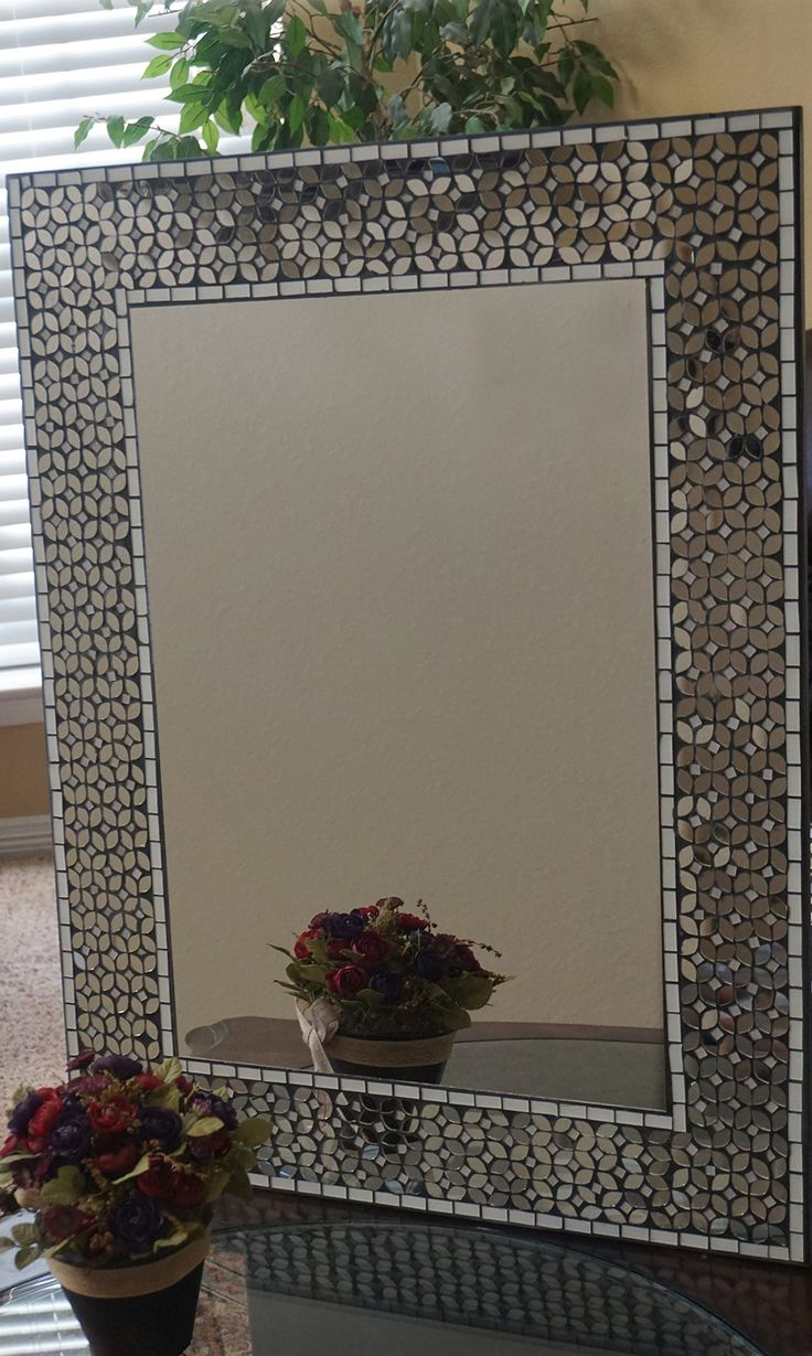 "Lulu Decor, Frosty Decorative Rectangle Mosaic Wall Mirror with Mosaic Mirror Pieces in Black Cement, Decorative Handmade Mirror, 31"" x 23.50"" Perfect for Housewarming Gift."