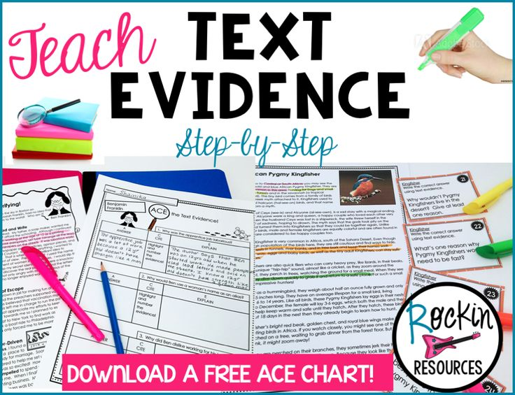 Are your students having trouble finding answers in their reading? This STEP-BY-STEP process will help them! Students will learn the acronyms for ACE and RAP to provide them with the proper tools for citing evidence effectivelyalong with tips to motivate them throughcolor-coding! Follow these teaching steps: 1. Explain the meaning of text evidence and how to find it.   Text is written work.   Evidence is proof.   Text + Evidence is citing proof in the reading. 2. Read through…