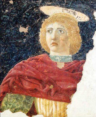 Piero della Francesca De heilige Julianus. Een aureool is een verwijzing naar het Latijnse woord aureus: verguld. Een aureool komt vaak voor in Christelijke kunst. God de vader heeft soms een driehoekige, als symbool van de drie-eenheid: Vader, Zoon en heilige geest. Jezus is God én mens. Levende figuren krijgen soms een vierkant aureool. Judas krijgt een zwart luguber aureool. Het kindje Jezus straalt bij geboorte licht uit. Piero della Francesca maakt er een platte metalen schijf van.