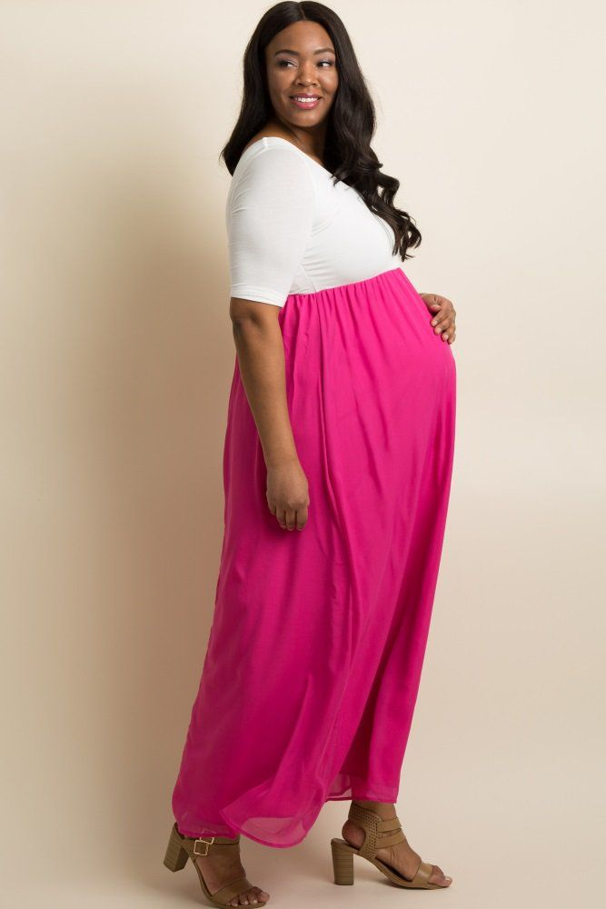 6daa4c577d751 A colorblock plus maternity maxi dress. Rounded neckline. Cinched under  bust. 3/4 sleeves. Chiffon bottom.