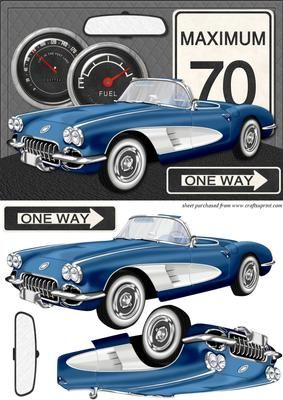 50 s sports car card front 2 on Craftsuprint designed by Chris Harland - A step by step card front with 1950's sports car decoupage and racing theme - Now available for download!