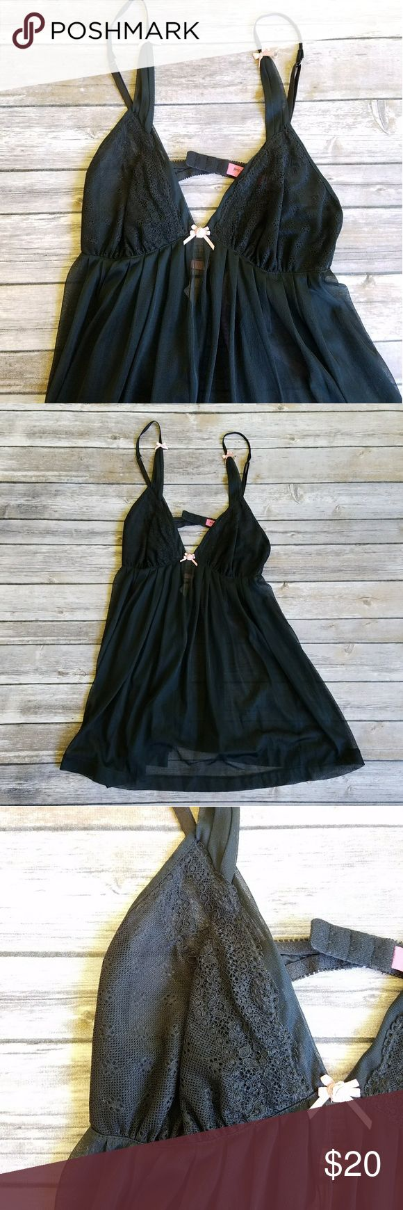 Betsey Johnson women's teddy NWOT black sheer Betsey Johnson night teddy. Adjustable straps with hook and eye back closure. Betsey Johnson Intimates & Sleepwear