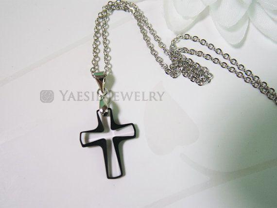 Cosmo Jet Crystal Cross Pendant Necklace Cross by YaesilJewelry