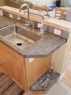"""Canine Refreshment Station """"The Doggie Bubbler"""" ~ Custom miniature sink turned dog watering dish ~ Half scale faucet, overflow valve, bartender sink ~ Unique custom solution to keeping your dogs water fresh 