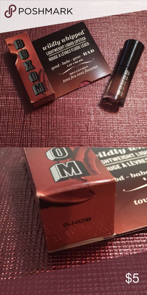 Buxom Wildy Whipped Lightweight Liquid Lipstick NIB. Taken out of box for photo purposes. Color is CENTERFOLD. Sample size. 2 mL. Retail Value is $8. Buxom Makeup Lipstick