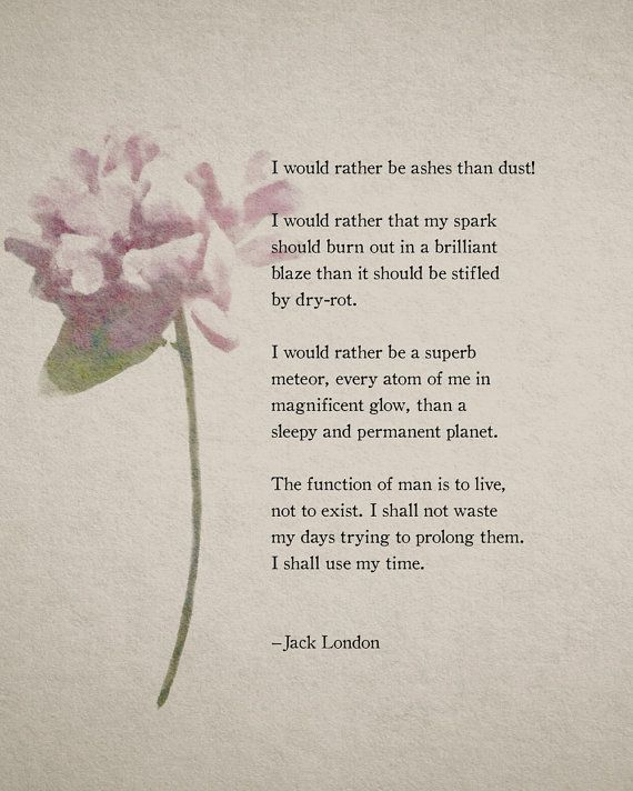 Poetry Print Jack London Quote Print by Riverwaystudios on Etsy