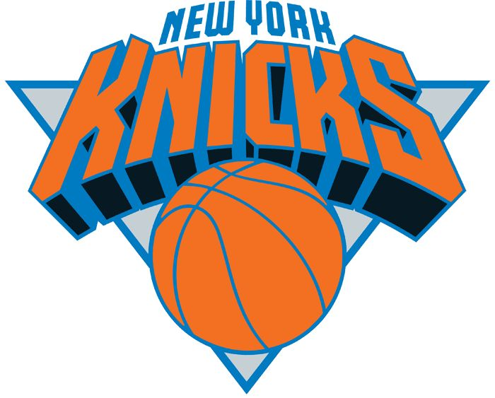 New York Knicks Primary Logo (1996) - Knicks in orange on a silver triangle above a basketball, New York in blue above