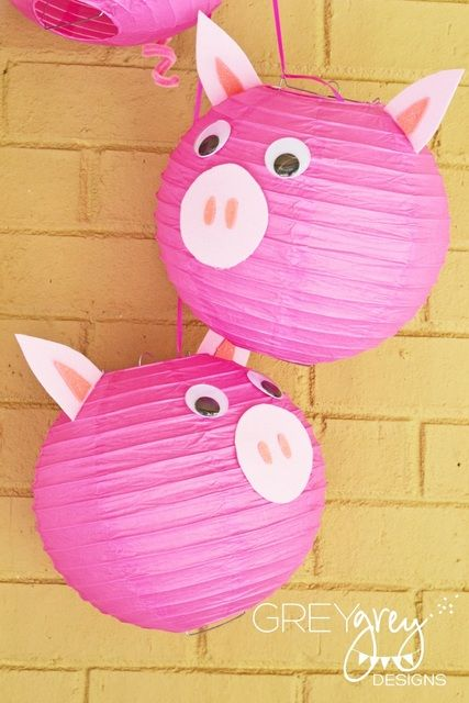 Paper lanterns at a Three Little Pigs Party #pig #party