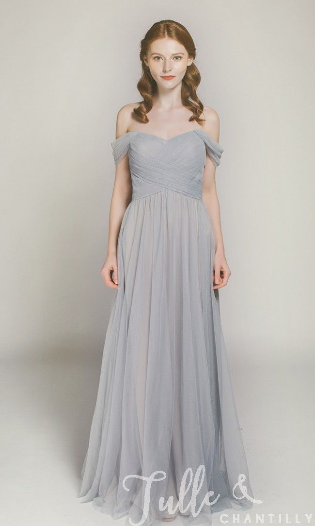 Long Off Shoulder Tulle Bridesmaid Dress TBQP328 click for 40+ colors