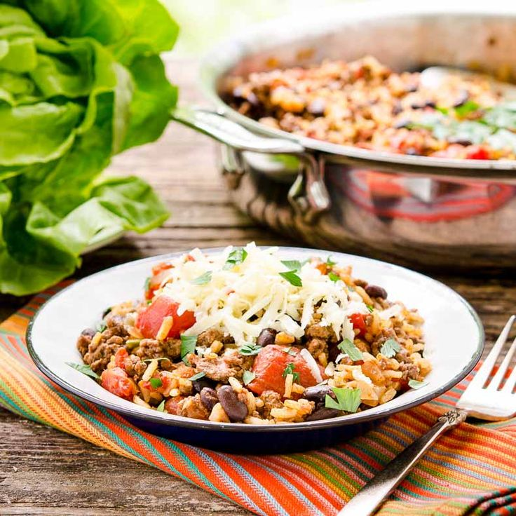 Tex-Mex Beef Rice Skillet is loaded with black beans and ...