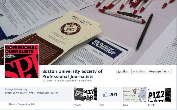 The largest and oldest journalism organization in the country. As one of 300 campus chapters, the Boston University chapter works to support First Amendment rights and the Freedom of Information Act; sponsors guest speakers from print, photojournalism, and broadcast journalism media. For more info visit https://www.facebook.com/pages/Boston-University-Society-of-Professional-Journalists/160516307340135