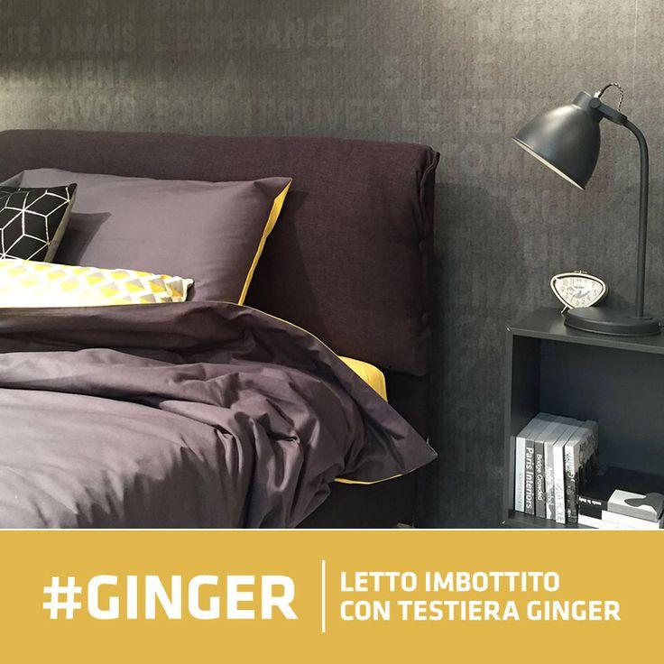#Letto Medium imbottito con testata Ginger rivestito in tessuto per #arredamento antracite