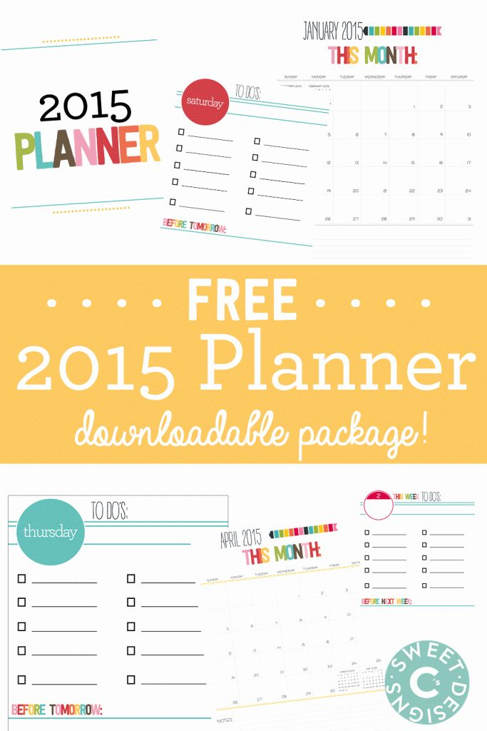This Free 2015 Calendar Printable Pack is a bright, colorful and fun free way to get organized for 2015! To do lists and monthly calendars.