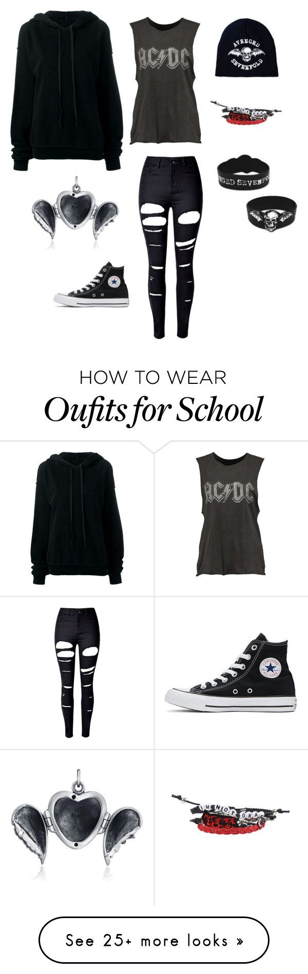 """""""At school"""" by ana-vivier on Polyvore featuring Hot Topic, WithChic, Converse, Unravel and Bling Jewelry"""