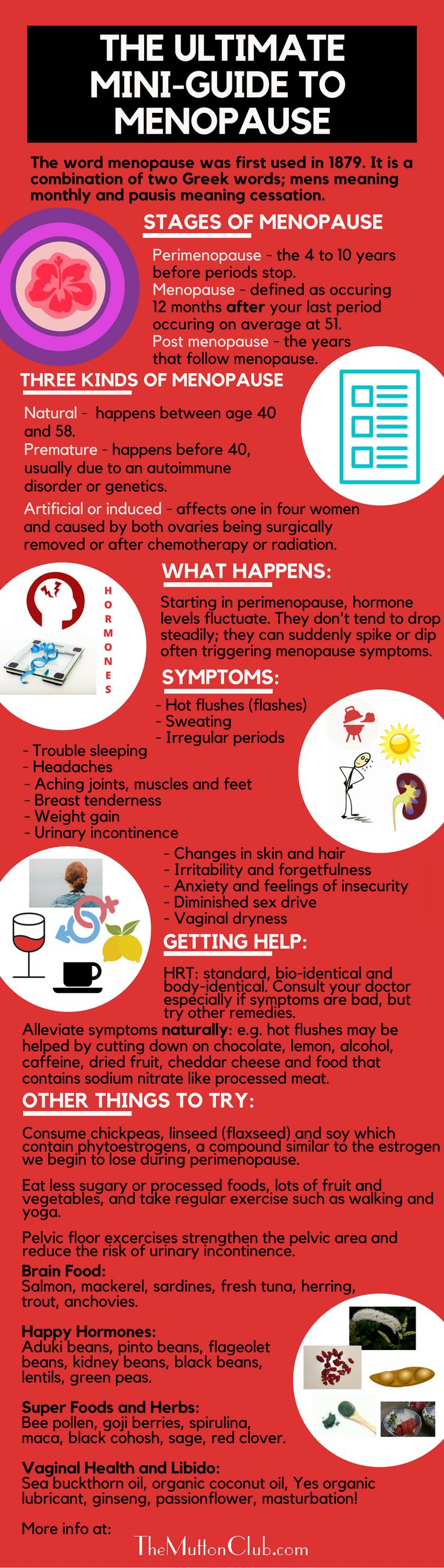 Our all-you-need-to-know guide to menopause in one handy infographic. What it is, common symptoms and how you can help yourself thrive through it. Check out all our other perimenopause and menopause resources too covering: keeping you sexy, alcohol and hormones, HRT, how to thrive though menopause, yoga for menopause, food to help, herbal medicine etc. at https://www.themuttonclub.com/category/feeling-good/menopause/