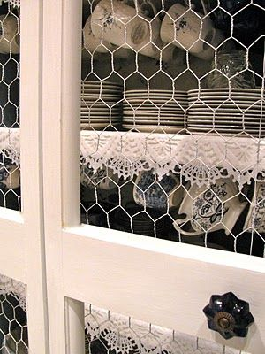 Chicken wire cabinet fronts--yep, I would do that!