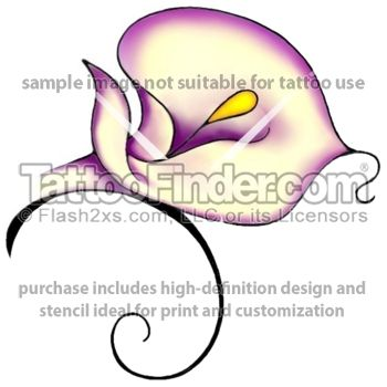 Soft Calla Lily tattoo design by Terri Fox