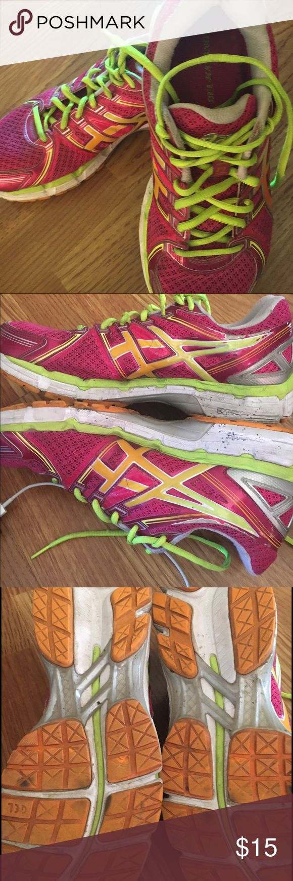 Asics  gel kayano 19 Pink orange and bright yellow. I used to train for a marathon still have lots of life.  Done wear on the soles as seen in pictures Asics Shoes Athletic Shoes