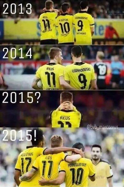 Marco Reus, Henrich Mychitarian i Pierre-Emerick Aubameyang nową siłą • Borussia Dortmund w 2015 roku • Wejdź i zobacz więcej >> #bvb #borussia #football #soccer #sports #pilkanozna
