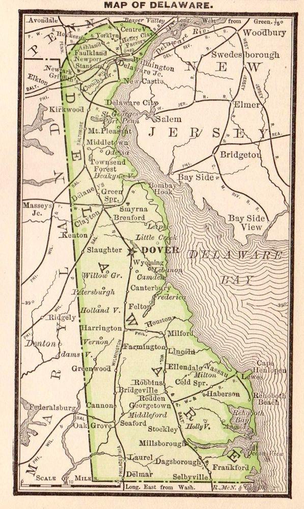 RARE Antique DELAWARE Map 1885 RARE MINIATURE Map of Delaware 2495 ...