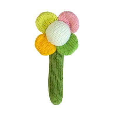 Perfect for little hands - shake it up baby! The irresistible cuteness of a Blabla handmade knitted rattle just never ends! So cute, squishy, cuddly and fun. These adorable flower rattles are made from 100% cotton, and handmade in Peru - bringing a little bit of tenderness to children everywhere.  Measures 15cm long x 5cm across