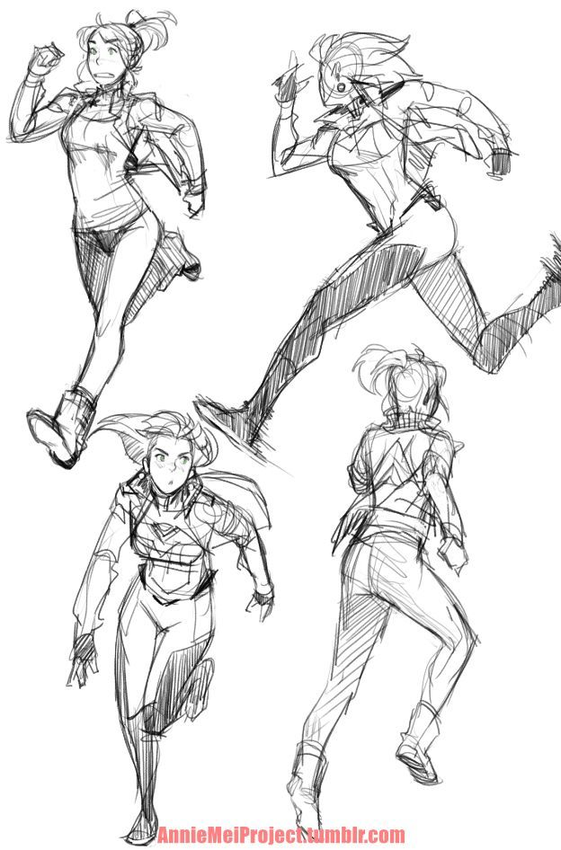 "anniemeiproject: "" Had to do some personal drawings for myself so here are some various running poses of Annie "":"