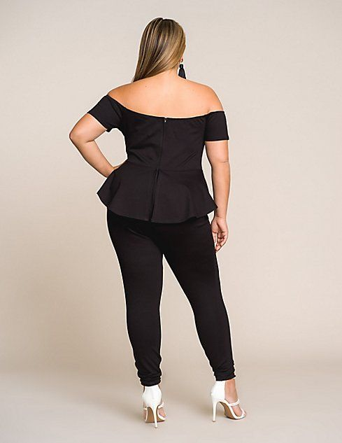7971ba3814a Plus Size Off The Shoulder Peplum Jumpsuit