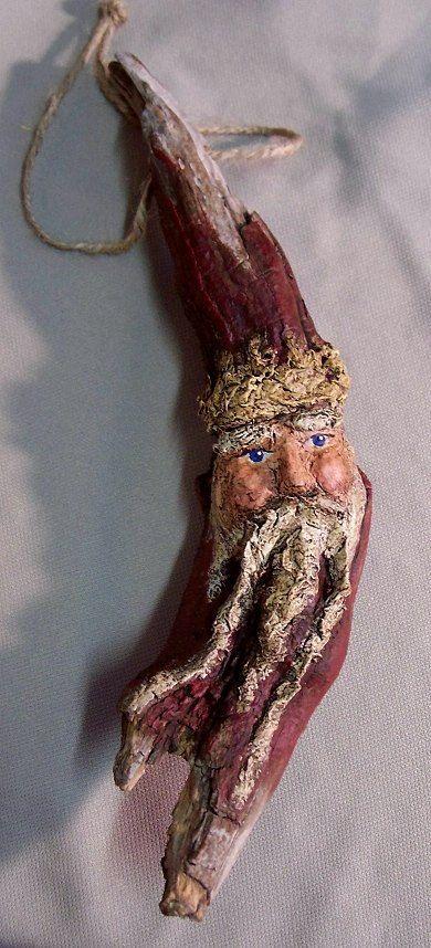 Driftwood & Papier Paper Mache Santa Claus Ornament Sculpture - Folk Art - Drift Wood Christmas Decoration Old World Santa Claus