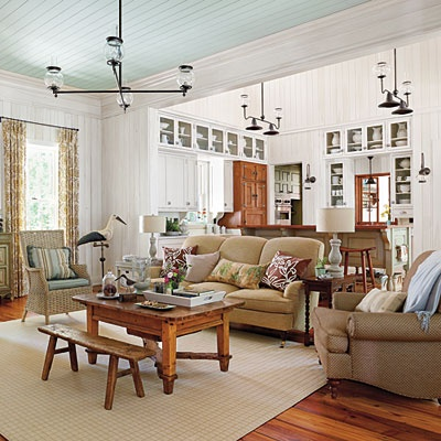 I would love to add beadboard over the painted popcorn ceiling in our living room. I love the pale blue.