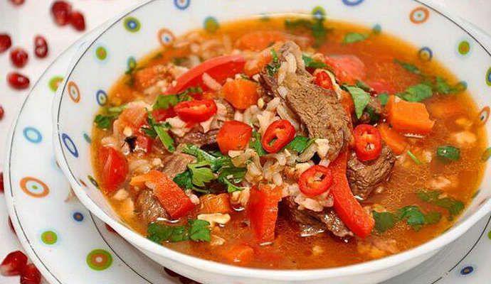 Суп Харчо: рецепт приготовления с рисом