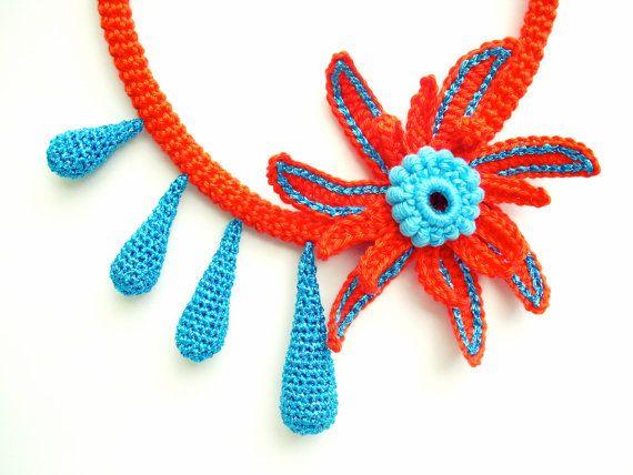 Orange turquoise necklace Teardrop necklace Fiber art by LindaLejn, $44.00