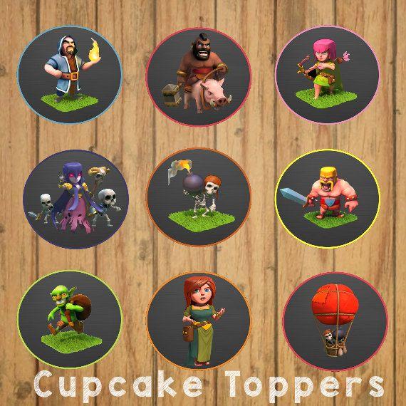 Choque de clanes Cupcake Toppers