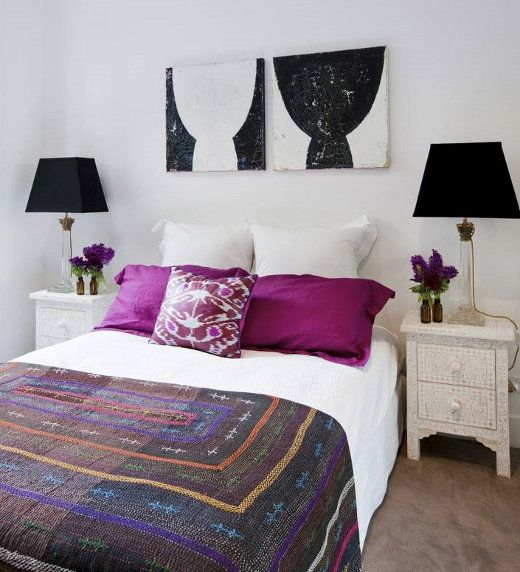 Lucy Fenton - bedrooms - In the depths of darkness artwork, In the depths of light artwork, Bone inlay table, magenta, magenta pillows, magenta shams,