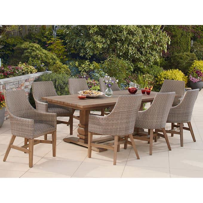 Peres 9 Piece Teak Dining Set In 2020 Teak Patio Furniture