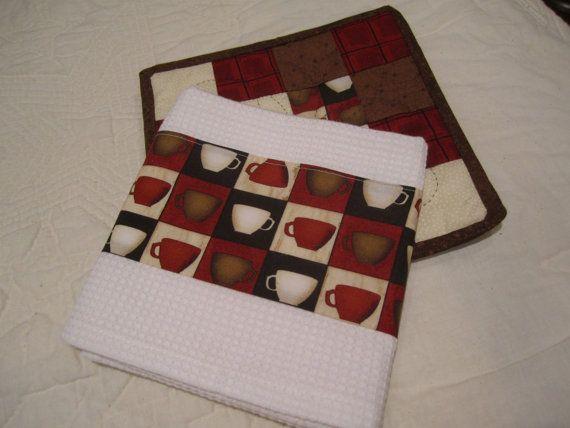 Red, Brown & Cream Tea Towel Potholder Set
