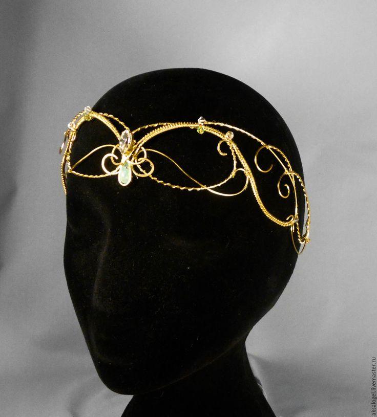 """Купить Латунный венец с хризопразом и кристаллами Swarovski """"Элана"""" - золотой, венец, тиара, диадема, золотистый"""